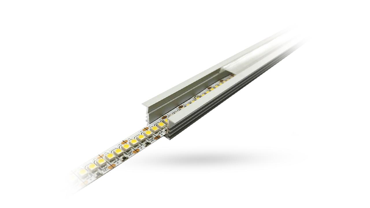 Perfil de Alumínio para LED 3 Metros - Embutir 12.2mm