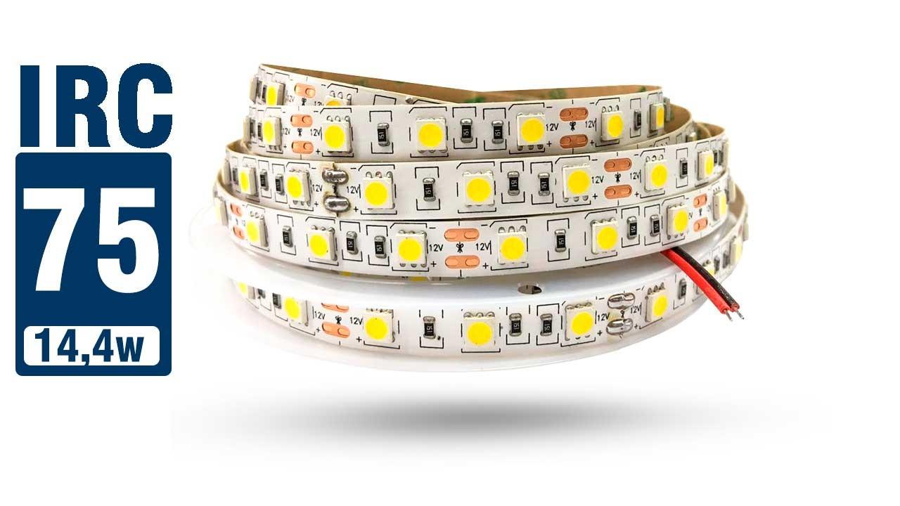 Fita LED 5050 IP20 (Interna) - Rolo 5m (300Leds) 18Lm por Led - IRC >70 - Alto Brilho