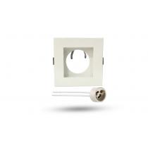 Spot MT Alumínio Fundo Branco Quadrado com Soquete GU10